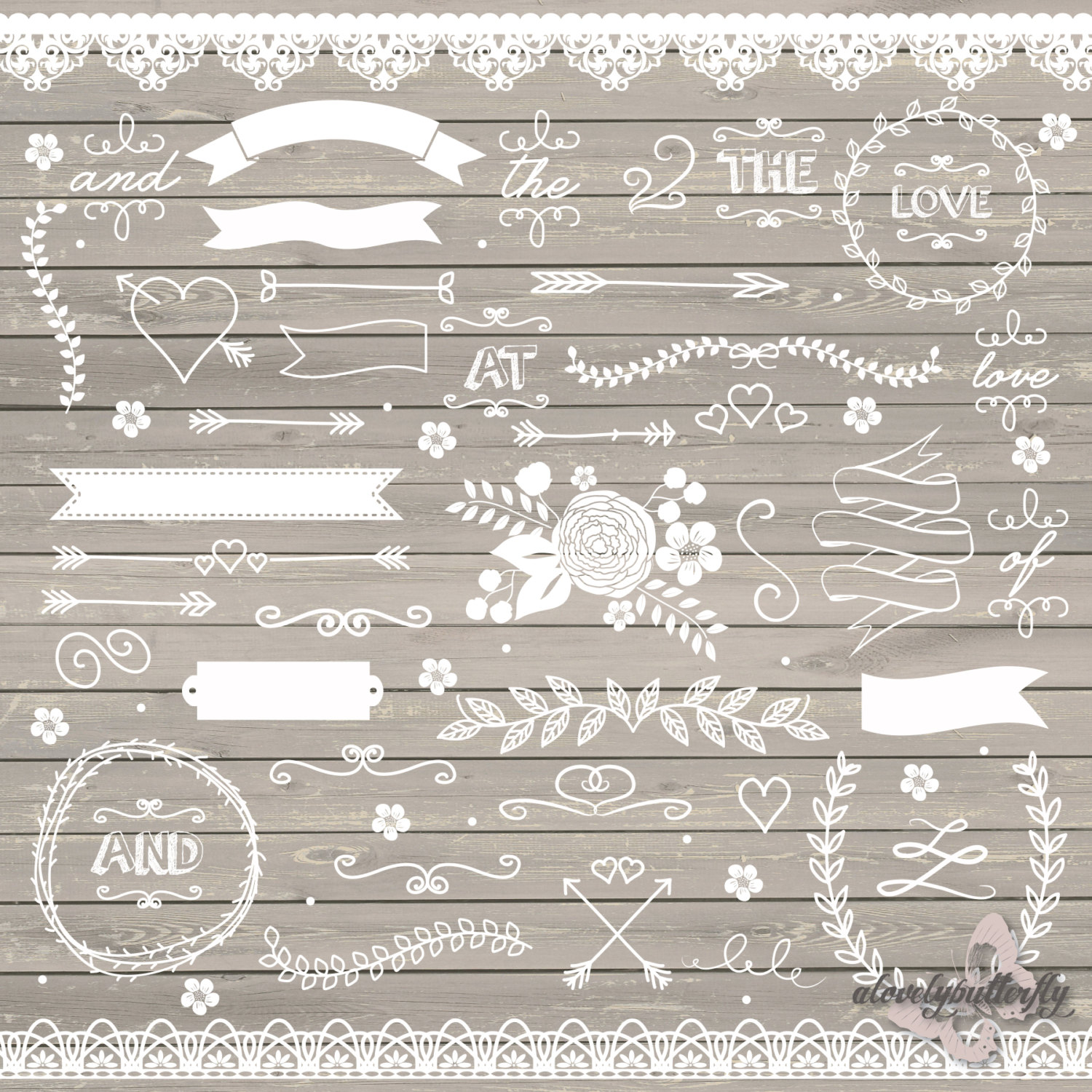 Arrow clipart shabby chic Rustic clipart clipart wedding lace
