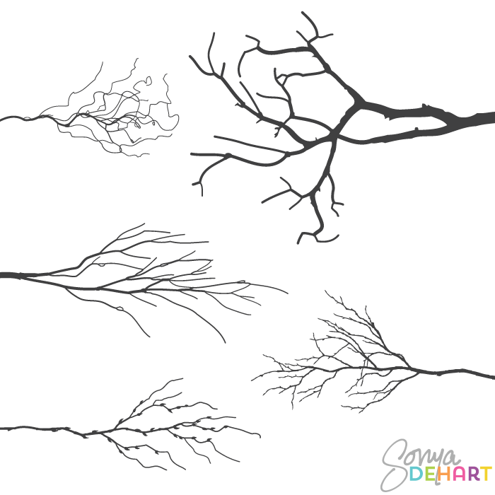Branch clipart vector art Branches clipart Rustic clipart branches