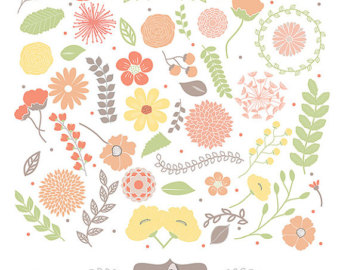 Rustic clipart wedding floral Paeonia Clipart Clipart flower orange