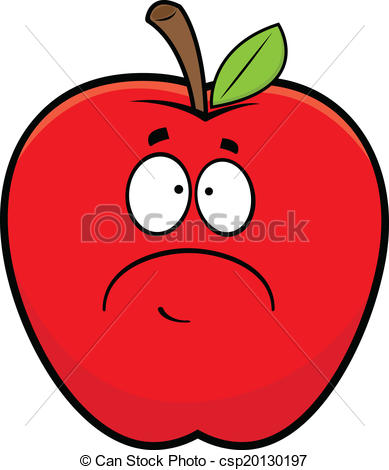 Apple clipart sad Red  illustration csp20130197 Cartoon