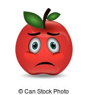 Apple clipart sad Vector of EPS illustration Cartoon