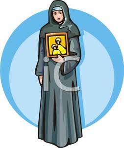 Sad clipart nun #3