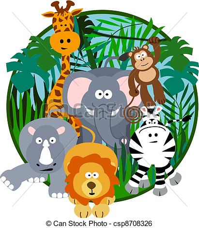 Safari clipart happy animal Of Cartoon vector Stock Clipart