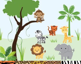 Safari clipart Animal tiger Art patterned