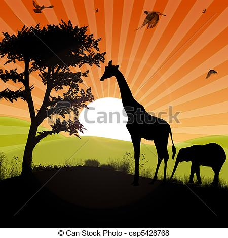 Safari clipart african safari Sunset of safari safari african