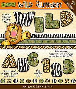 Safari clipart alphabet DJ Art created Inkers clip