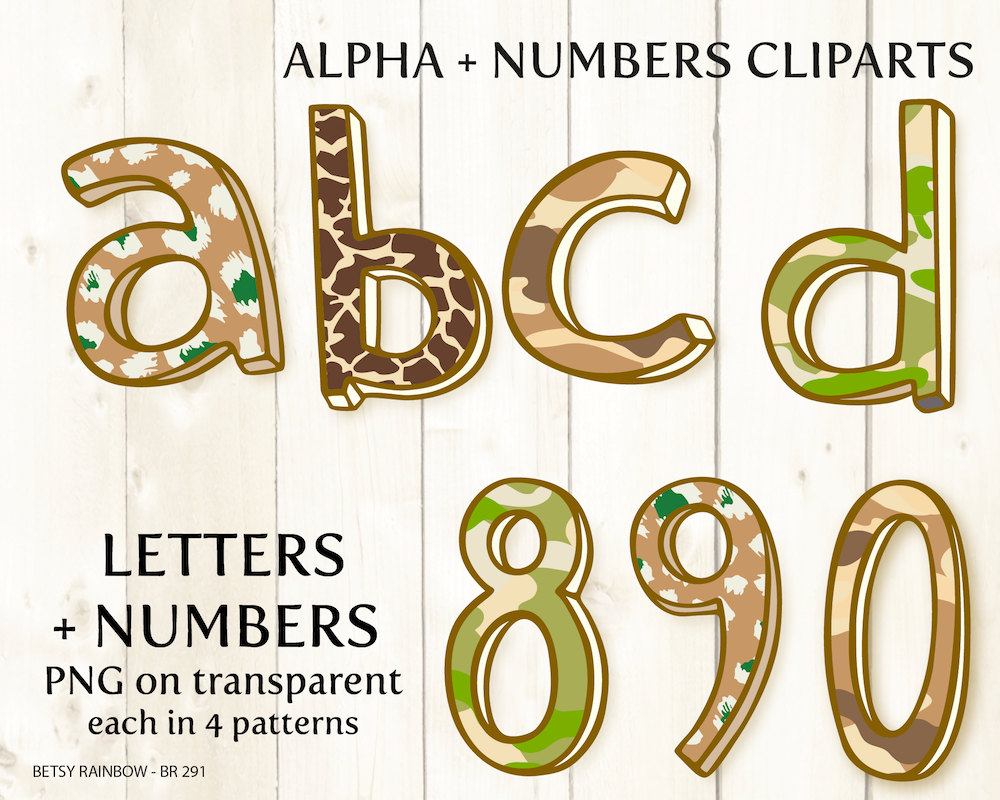 Safari clipart alphabet Art clipart camouflage safari Etsy