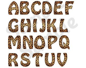 Safari clipart alphabet Font Etsy Leopard Animal Safari