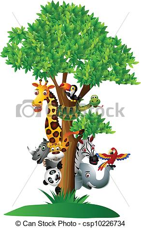 Safari clipart animal plant Vector safari cartoon safari funny