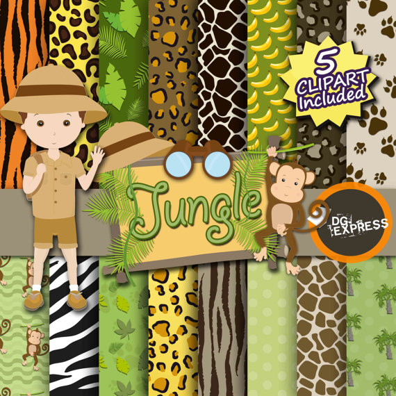 Safari clipart animal plant Leaves Animal Clipart print +
