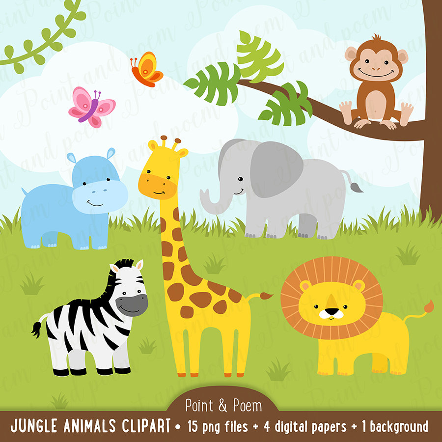 Safari clipart baby animal Clipart Jungle Papers Clipart Etsy