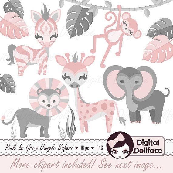Pink clipart safari Pink Baby Baby Safari Art