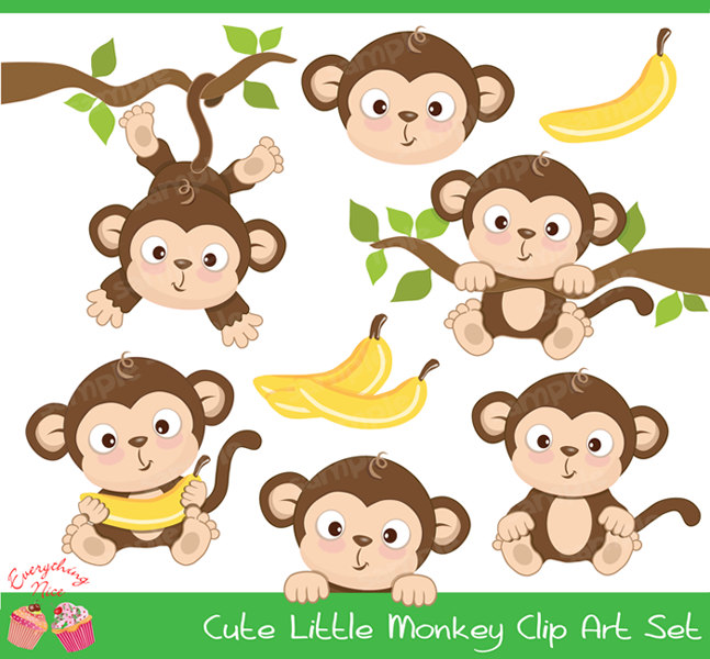 Year Of The Monkey clipart Clipart Etsy Baby Monkey Little