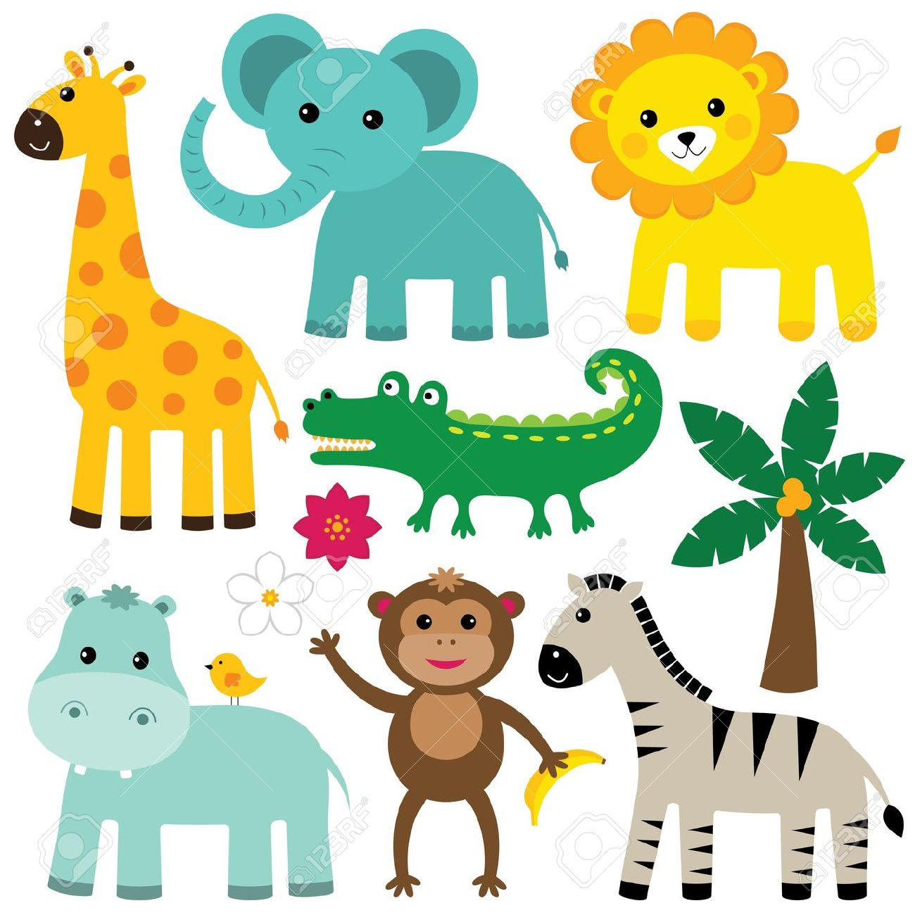 Baby Animal clipart vector art Animals Cute  Vector jungle