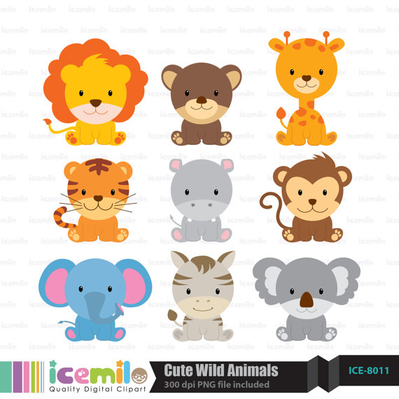 Baby Animal clipart wild animal All Each Necklace of Wild