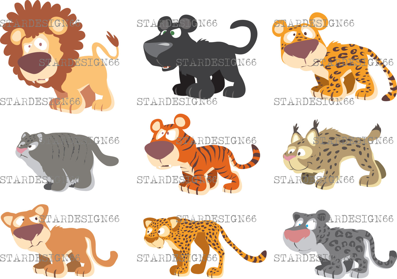 Big Cat clipart forest animal African vector Graphics Digital instant
