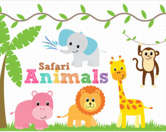 Safari clipart happy animal Monkey Lion tiger clip Clipart