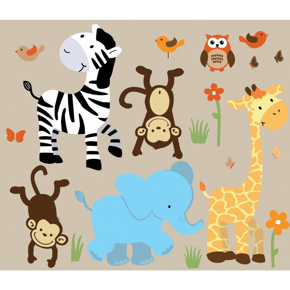 Safari clipart happy animal Wall With For Nursery Decals