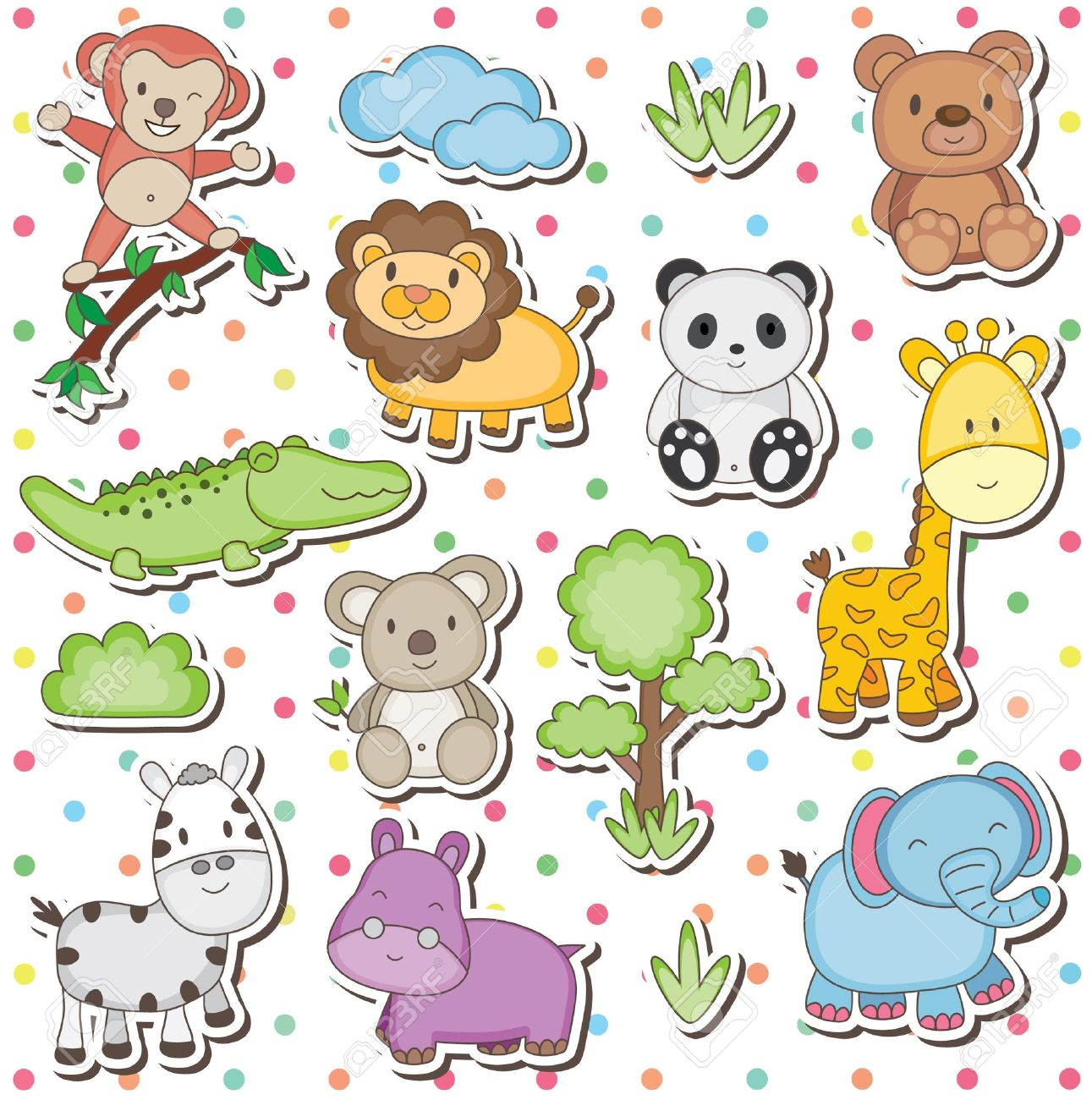 Safari clipart happy animal Selva de con dibujos