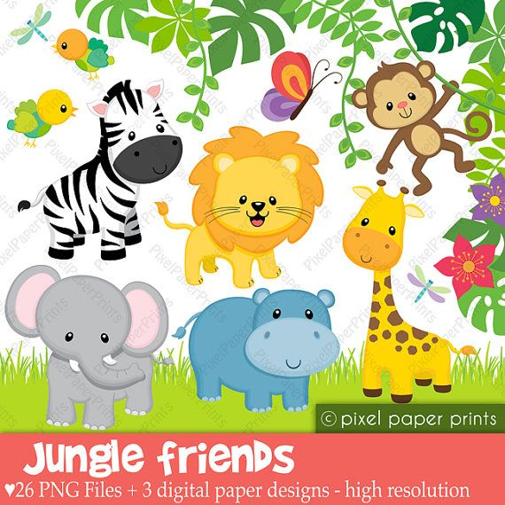 Safari clipart happy animal Art clipart Animals Cakes on