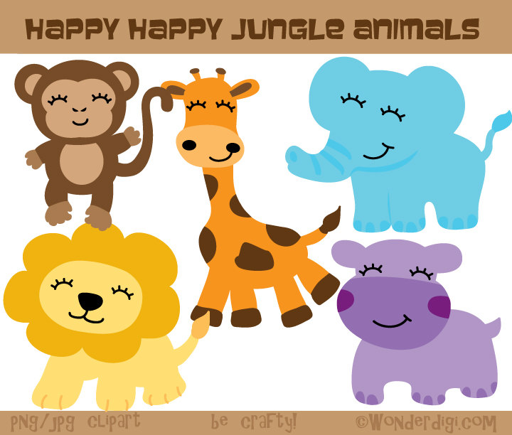 Safari clipart happy animal Clip Safari Clip Animal Cute