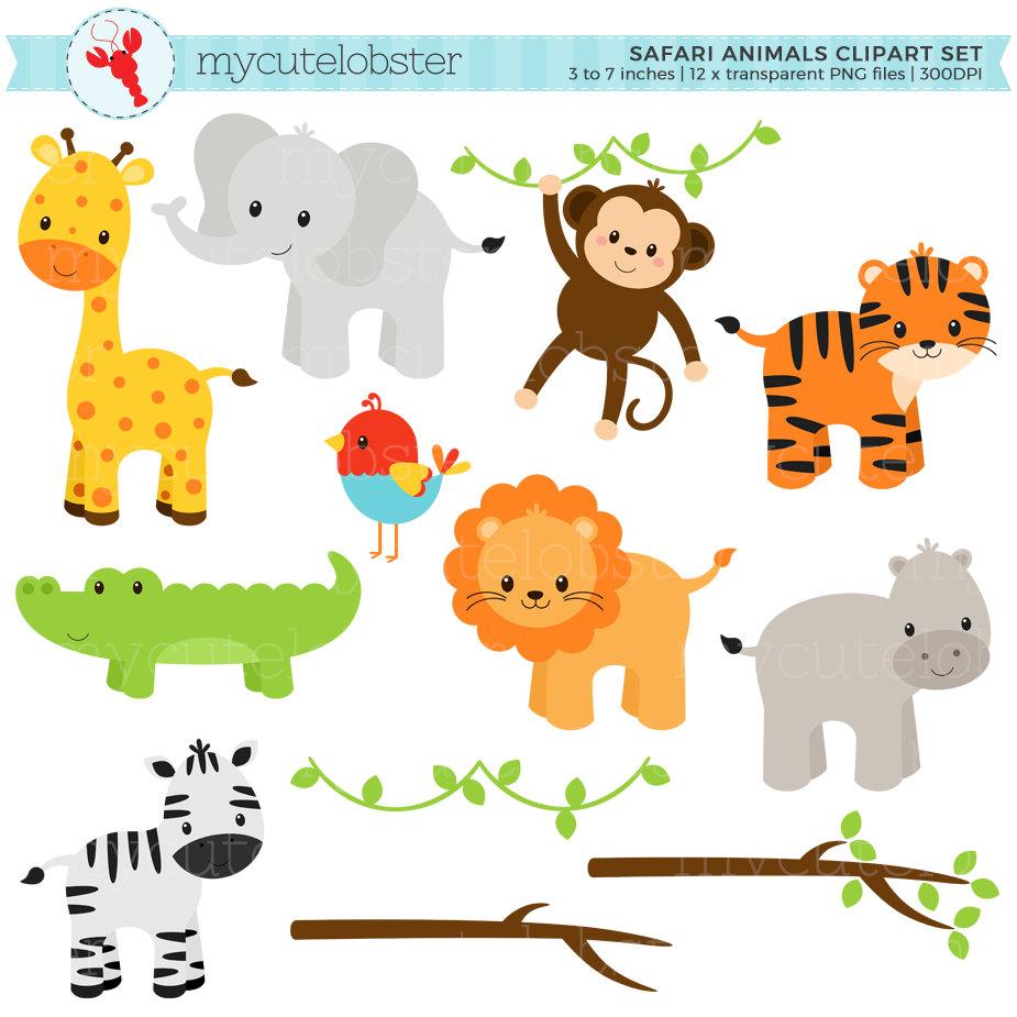 Safari clipart hippo Set Animals Clipart clip tiger