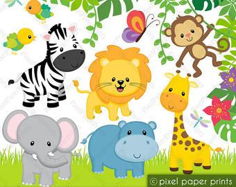 Wildlife clipart baby shower safari Digital Clipart Jungle Friends Clipart