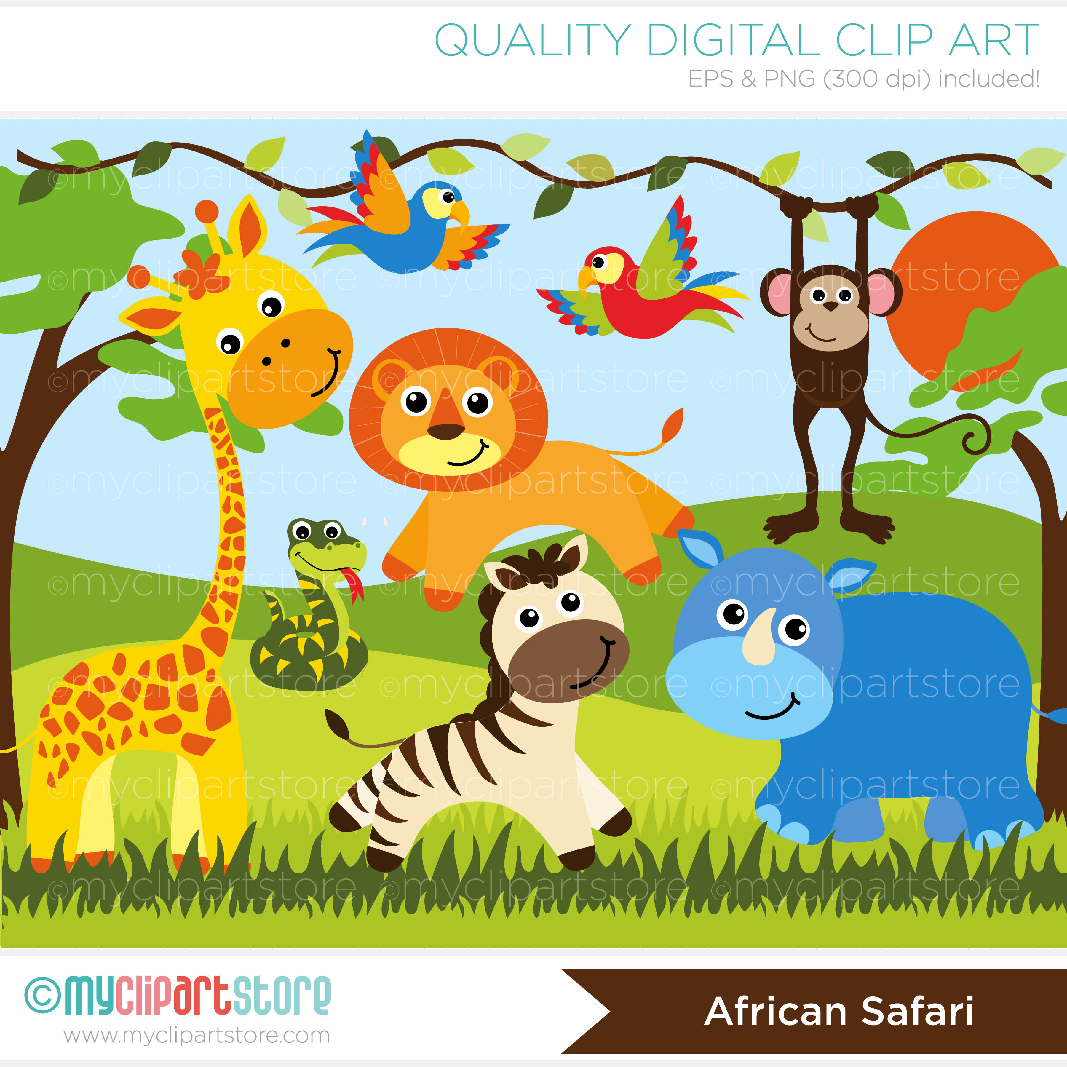 Africa clipart african safari Safari Safari African African Vector