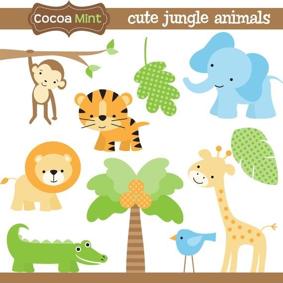Wildlife clipart baby shower safari Animals Art Cute Jungle on