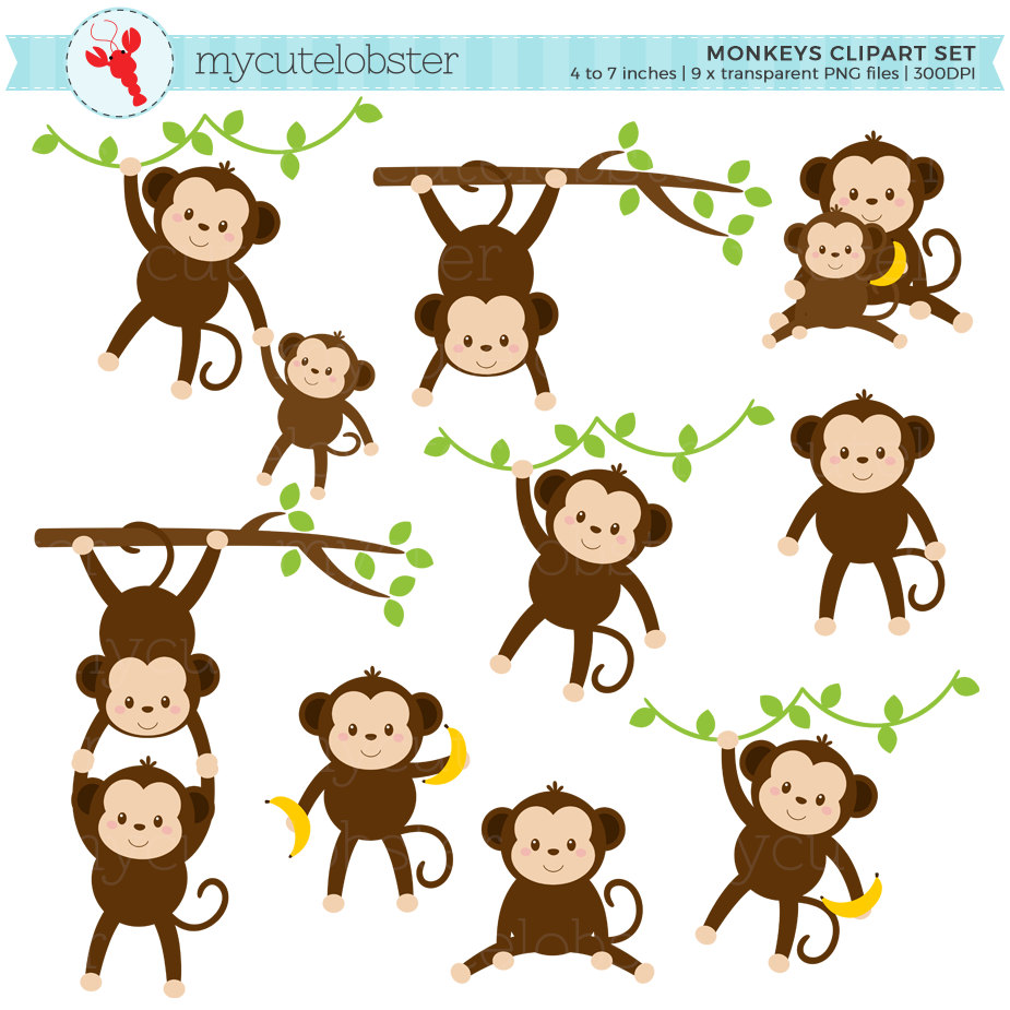Mother And Baby clipart monkey Clip of Clipart cute set
