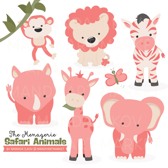 Safari clipart pink 9 cute Set Filled with