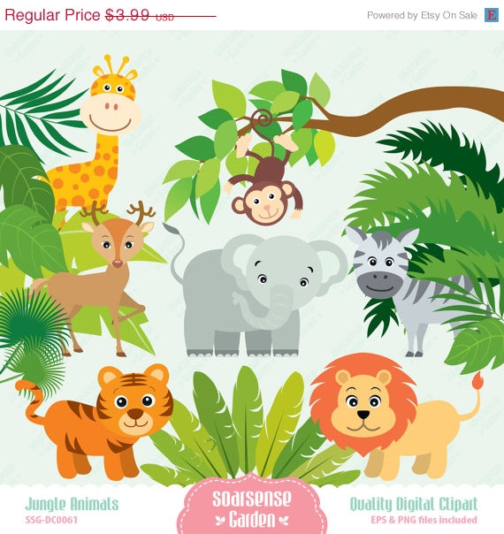 Safari clipart rainforest monkey Tiger Giraffe SALE 30% Clipart