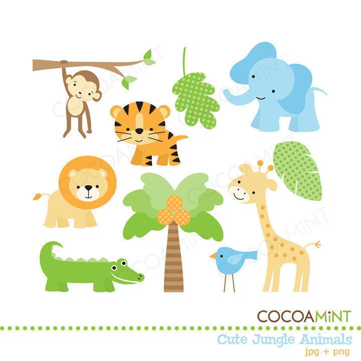 Safari clipart rainforest monkey SafariAnimal Animals Clip Shower Cute
