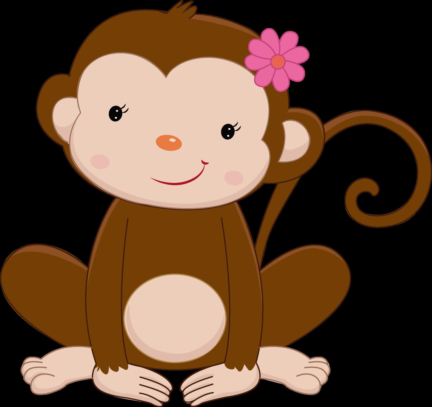 Safari clipart rainforest monkey Girly Girly Minus Pink Pretty