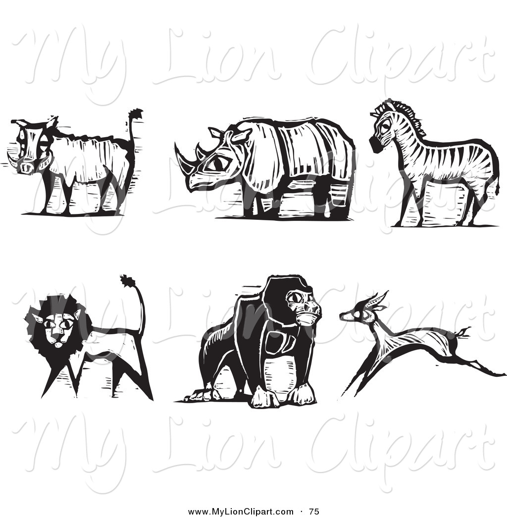 Safari clipart rhino Digital White Styled Safari of