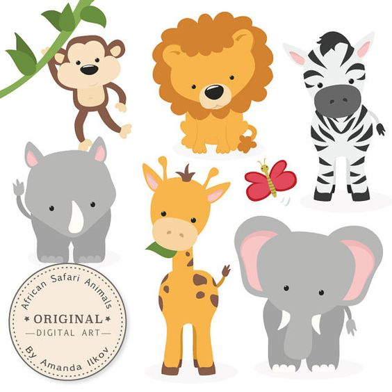 Safari clipart rhino Set • lion drawn is