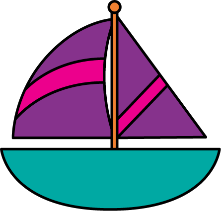 Pink clipart sailboat And Clip Sailboat Purple Sailboat