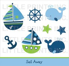 The Sea clipart baby shower whale PERSONAL Anchor / Instant Boy