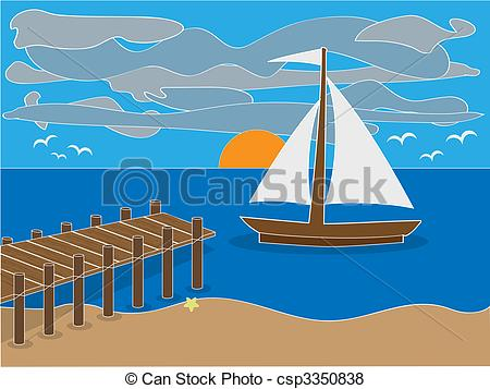 Sailboat clipart beach #6