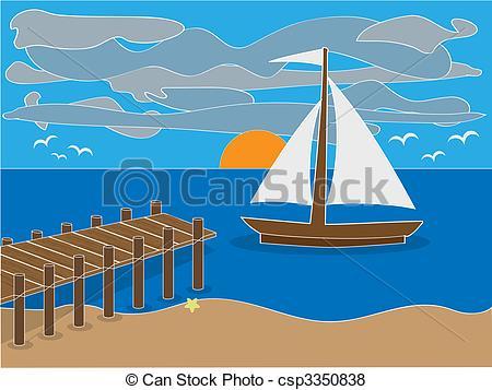Sailboat clipart beach Sailing Sunrise beach of Vector