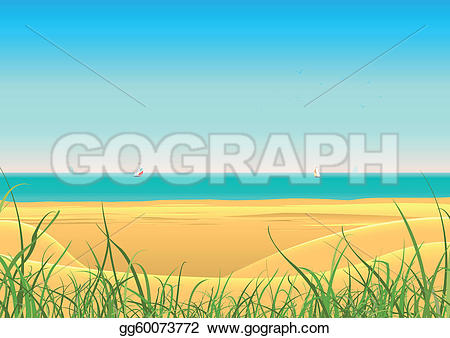 Sailboat clipart beach Vector background Clipart poster a
