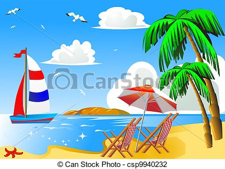 Sailboat clipart beach Sailboat with and palm chair