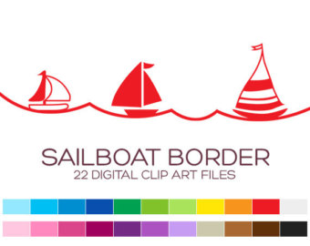 Sailboat clipart border Digital borders clipart for 22