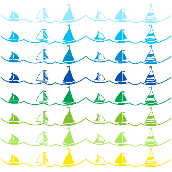 Sailboat clipart border Personal Commercial digital for