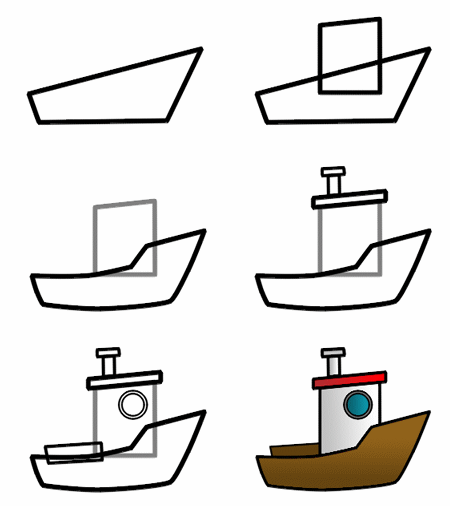 Drawn yacht steamboat Boat Drawing a cartoon