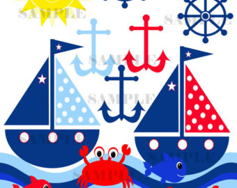 Sailing Ship clipart blue sailboat Clip Crab clipart Sailboat Clipart