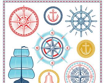 Sailboat clipart maritime Vector Ships Etsy ship Set