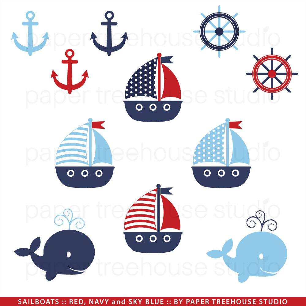 Blue Whale clipart sailboat Nautical Nautical Sailboat Download Clipart
