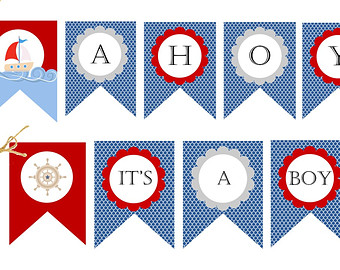 Sailboat clipart nautical baby shower Ahoy Boy Nautical decoration Baby