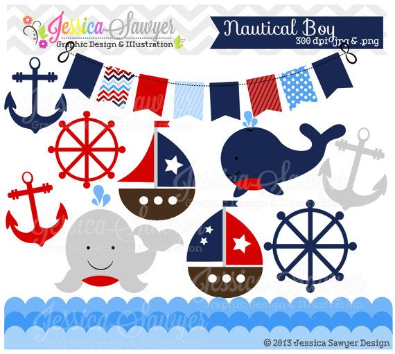 Sailboat clipart nautical baby shower INSTANT boy 72 Baby on